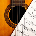 Classical guitar with a musical score
