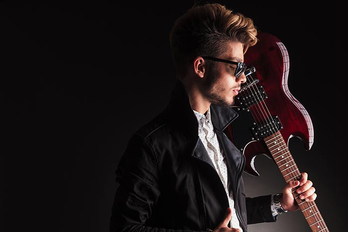 Young cool guitarist