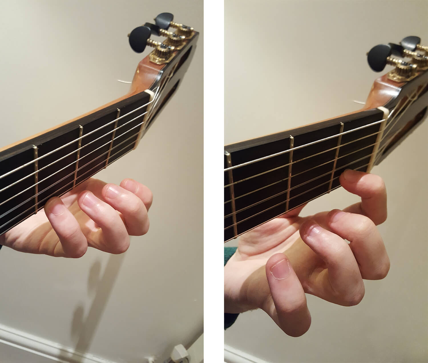 Demonstrating G and C on the classical guitar